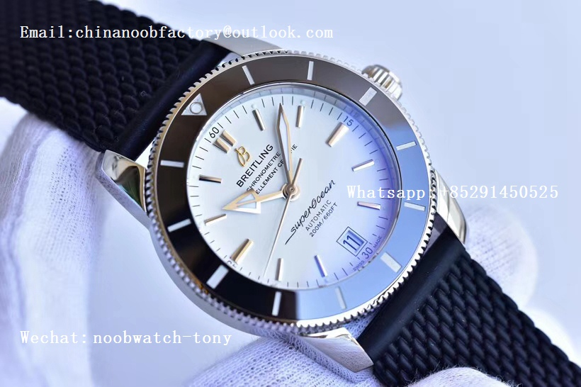Replica Breitling SuperOcean Heritage ii 42mm SS GF 1:1 Best Edition White Dial Black Bezel A2824 V2
