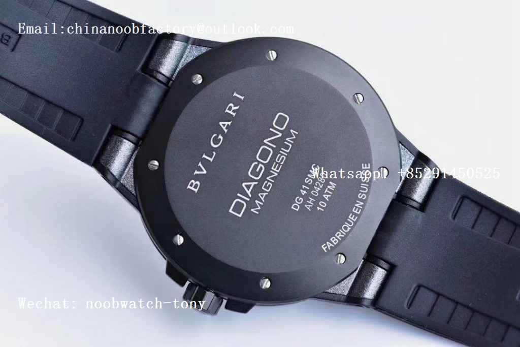Replica Bvlgari Diagono Magnesium PVD GF 1:1 Gray Textured Dial on Black Rubber Strap MIYOTA 9015 V2