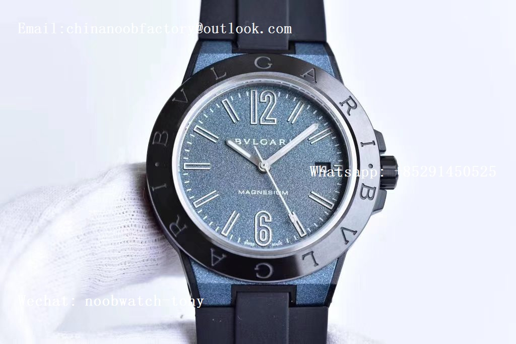 Replica Bvlgari Diagono Magnesium PVD GF 1:1 Blue Textured Dial on Black Rubber Strap MIYOTA 9015 V2