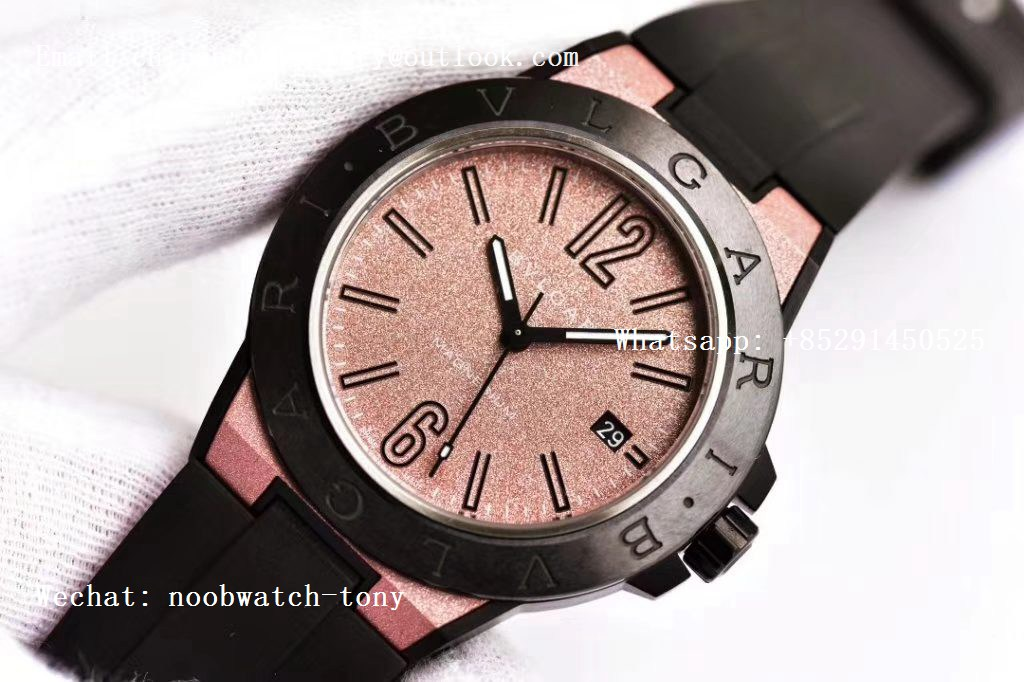Replica Bvlgari Diagono Magnesium PVD GF 1:1 Pink Textured Dial on Black Rubber Strap MIYOTA 9015 V2