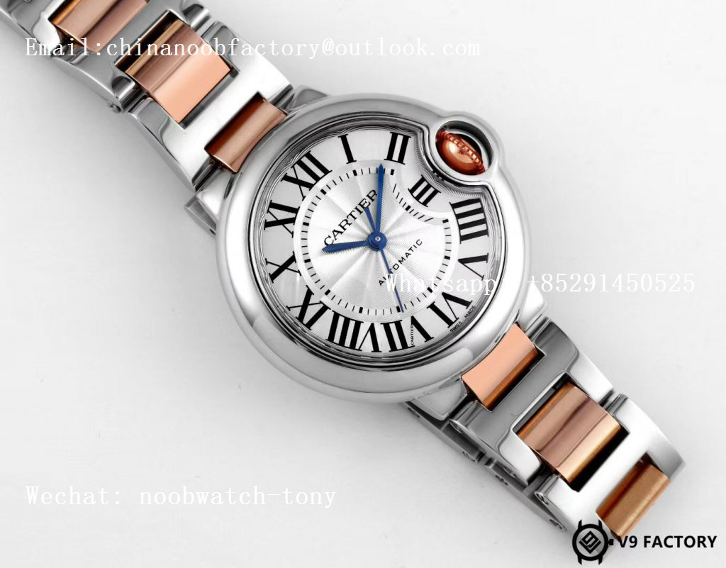 Replica Cartier Ballon Bleu 36mm SS/Rose Gold Thick Wrapped Gold V9F 1:1 Best Edition White Dial Cal.076