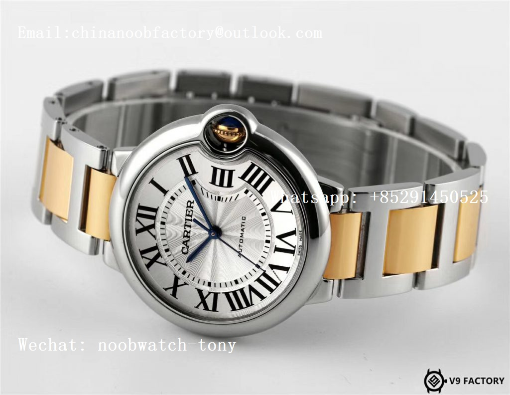 Replica Cartier Ballon Bleu 36mm SS/Yellow Gold Thick Wrapped Gold V9F 1:1 Best Edition White Dial Cal.076