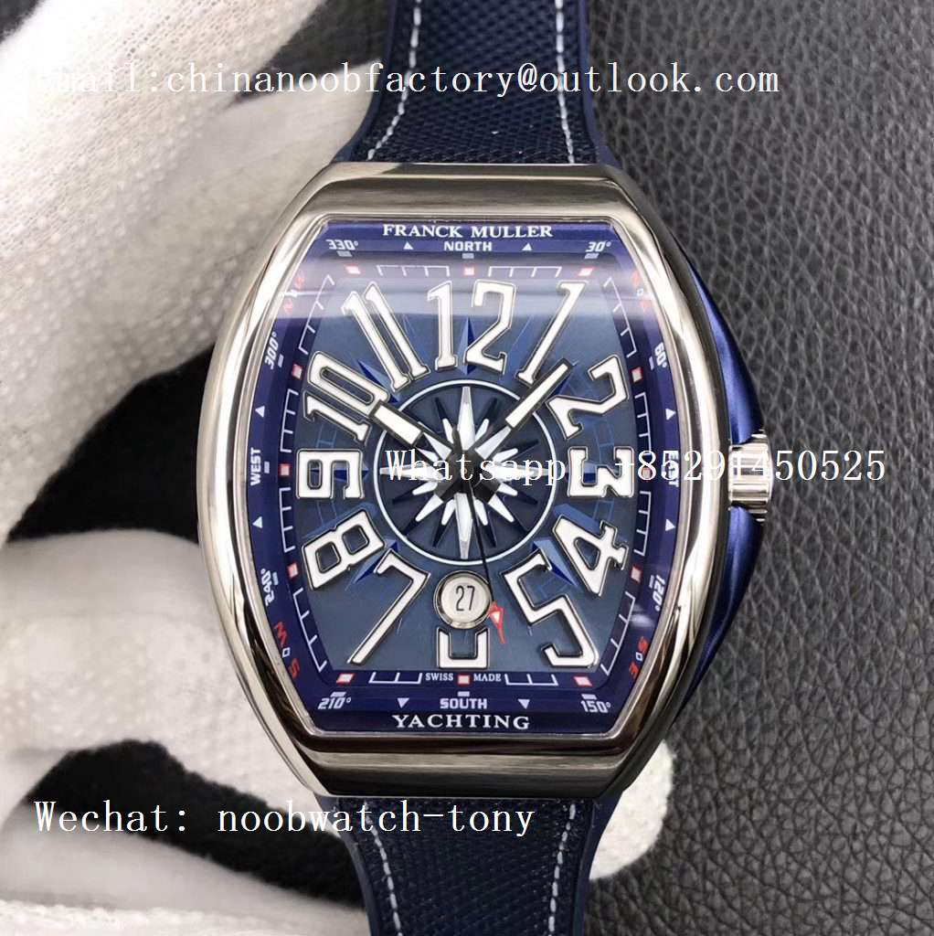 Replica Frank Muller Vanguard V45 SS ZF Best Edition Blue Textured Dial on Blue Rubber Strap MIYOTA 9015