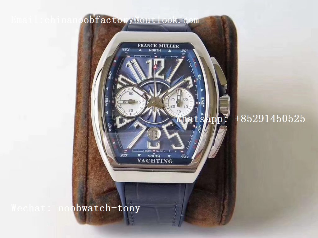 Replica Frank Muller Vanguard V45 Chrono SS ABF Best Edition Blue Textured Dial on Blue Gummy Strap A7750