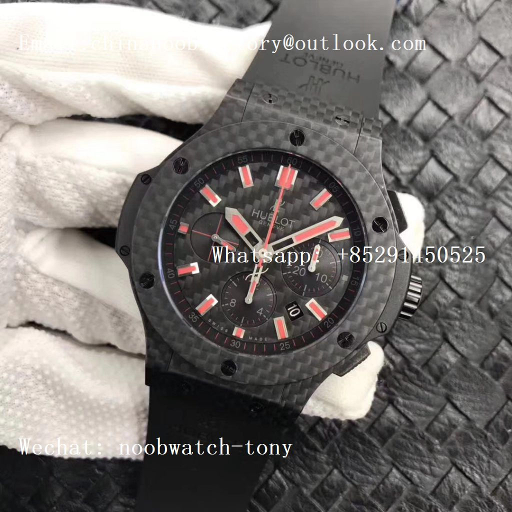 Replica Hublot Big Bang 44mm Full Carbon Fiber CF Dial Red Markers V6F 1:1 Best HUB4104