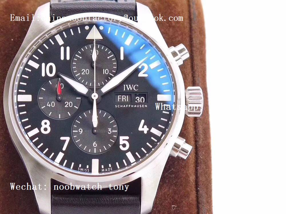 Replica IWC Pilot Chrono IW377709 ZF Best Edition Black Dial on Black Leather Strap A7750
