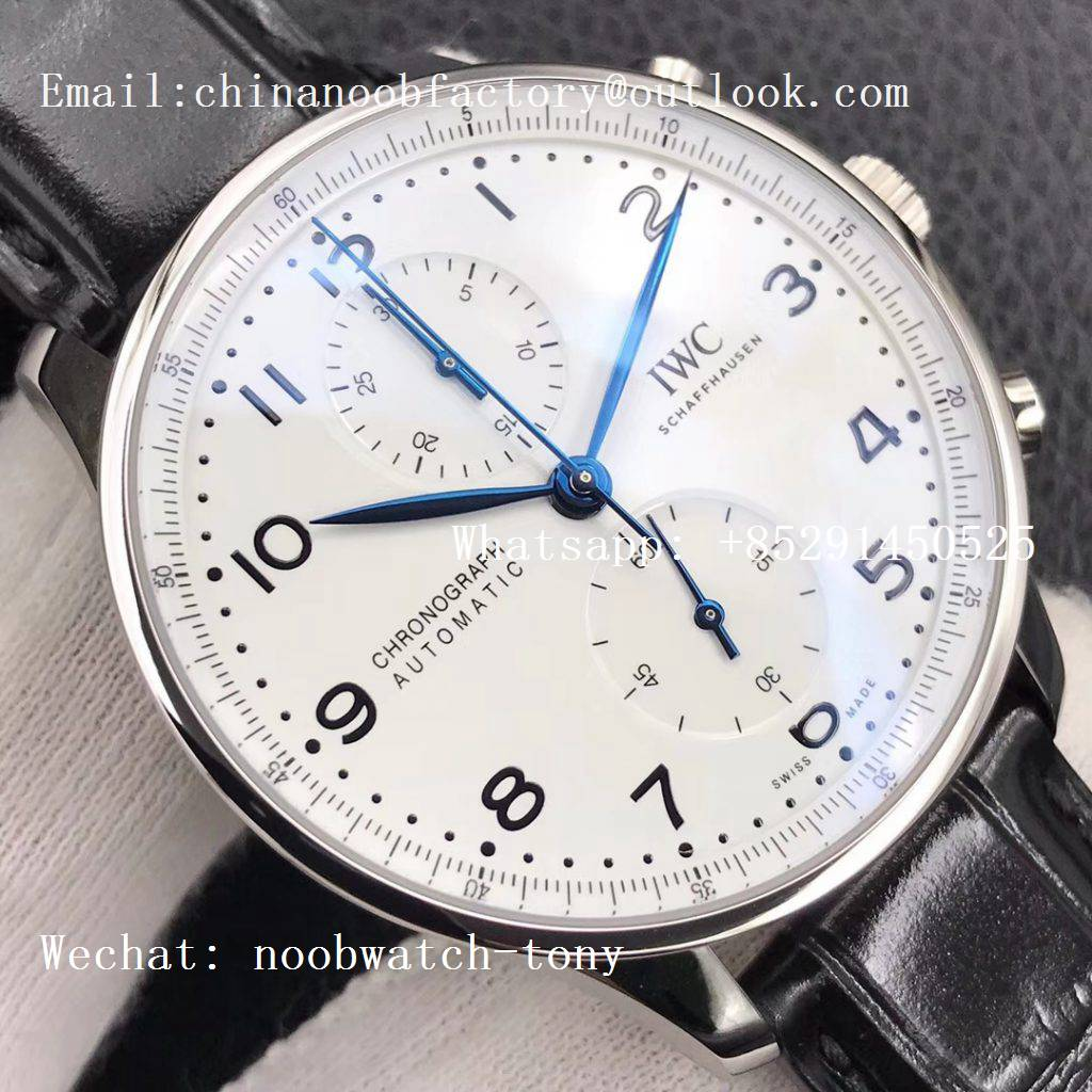 Replica IWC Portuguese Chronograph Edition 150 Years IW371602 ZF 1:1 Best Edition White Dial on Black Leather Strap A7750 (Slim Movement)