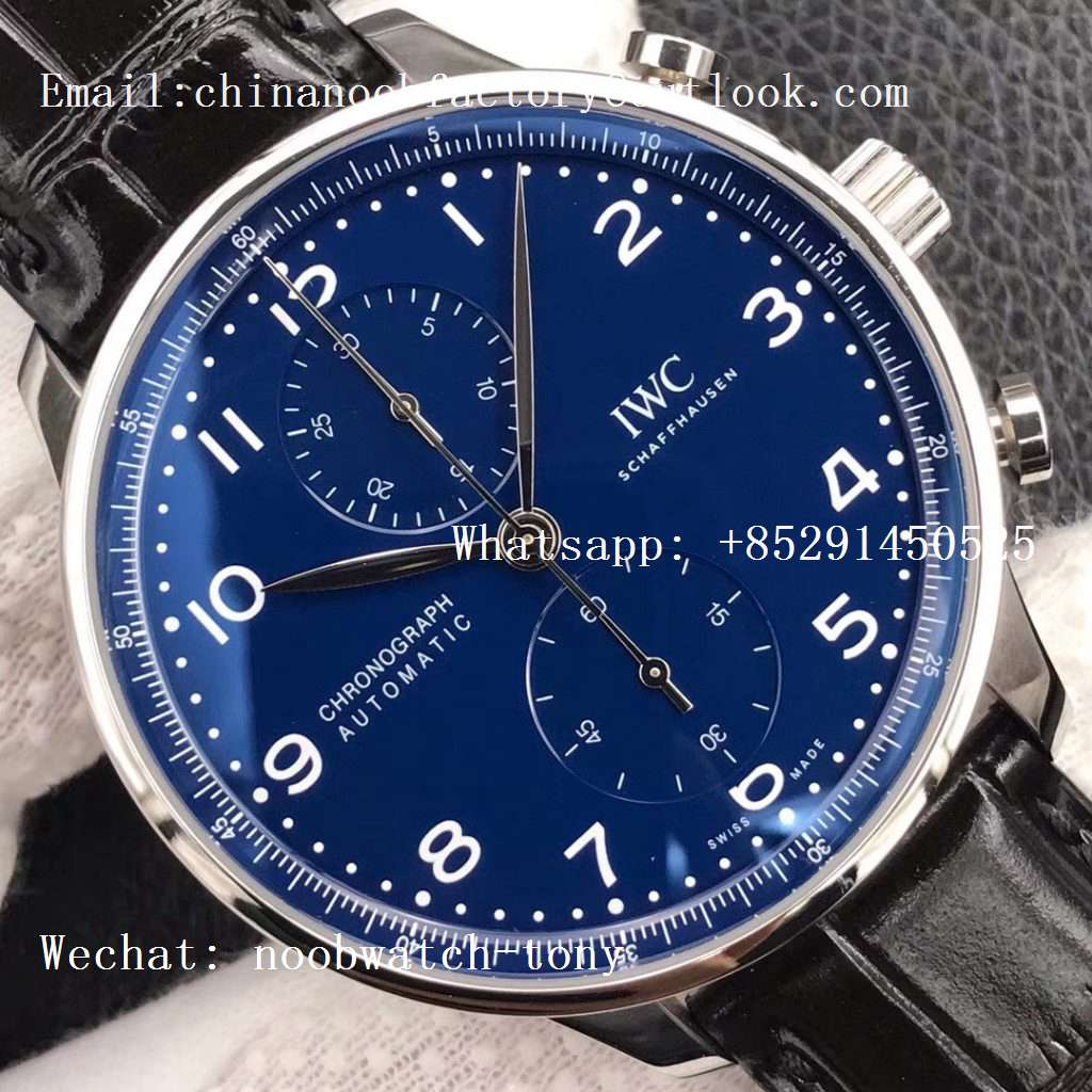 Replica IWC Portuguese Chronograph Edition 150 Years IW371601 ZF 1:1 Best Edition Blue Dial on Black Leather Strap A7750 (Slim Movement)