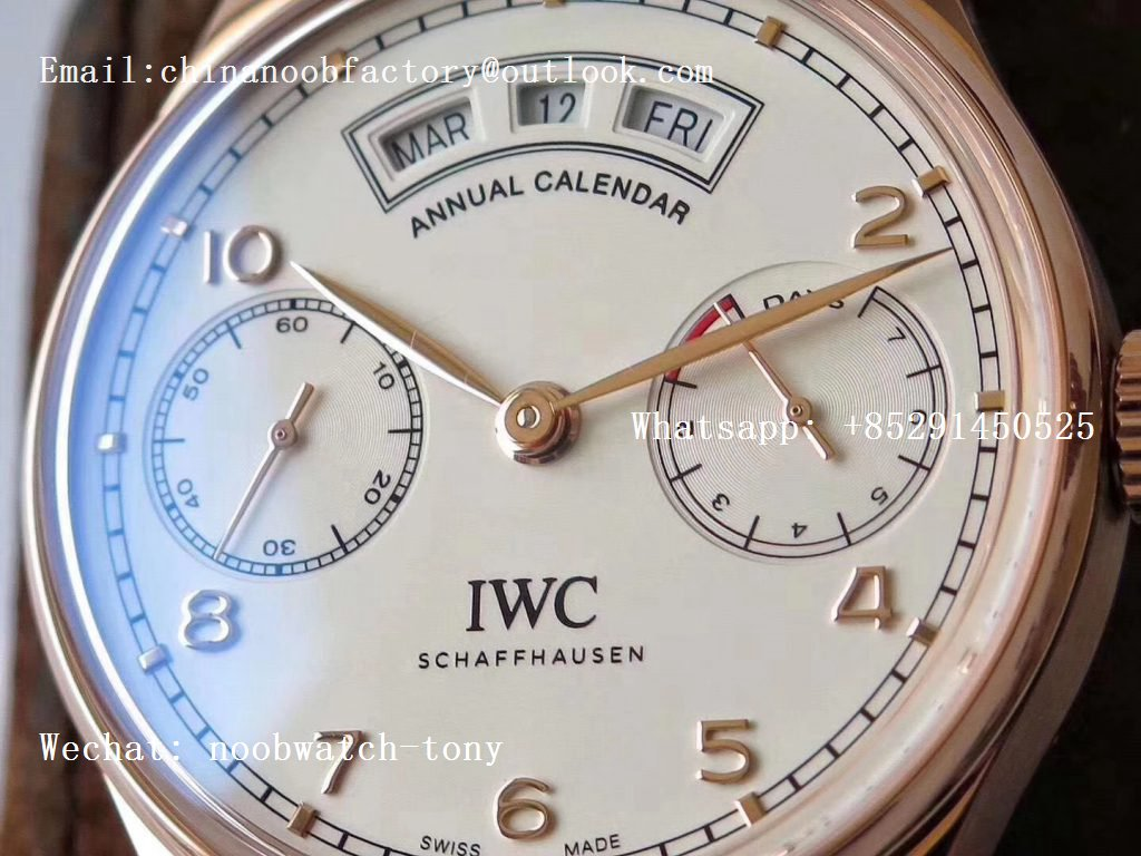 Replica IWC Portuguese Real Power Reserve Real Annual Calendar Rose GOLD IW5035 ZF 1:1 Best Edition White Dial A52850 V2