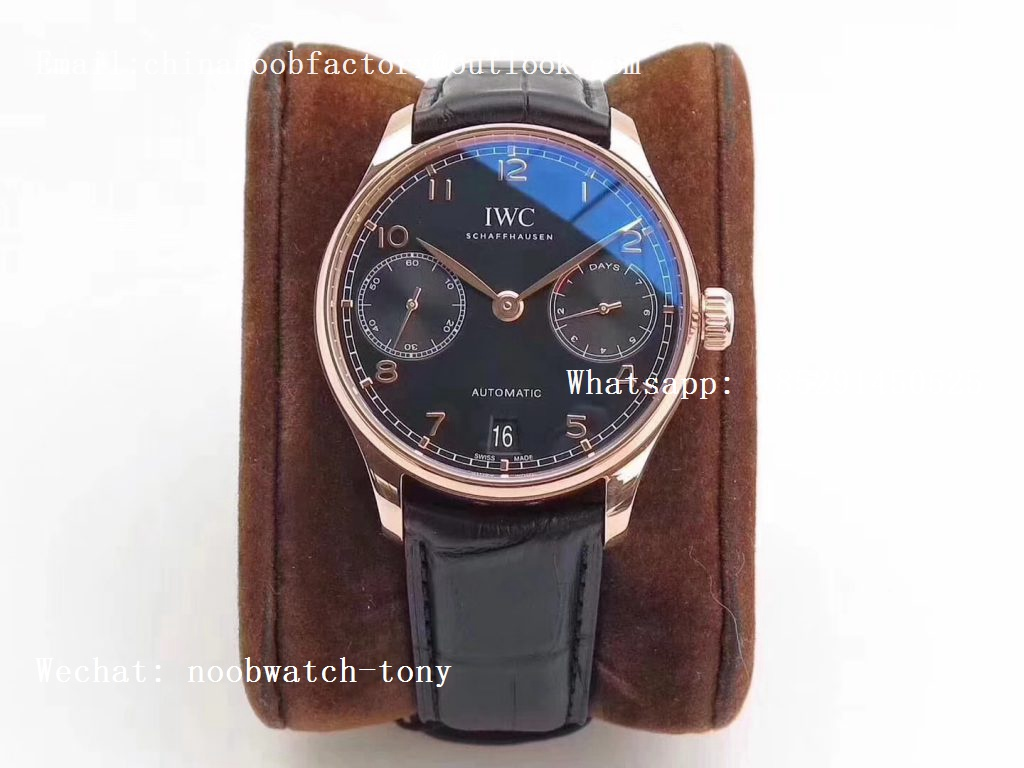 Replica IWC Portuguese Real Power Reserve Rose Gold IW5007 ZF 1:1 Best Edition Black Dial on Black Leather Strap A52010 V4