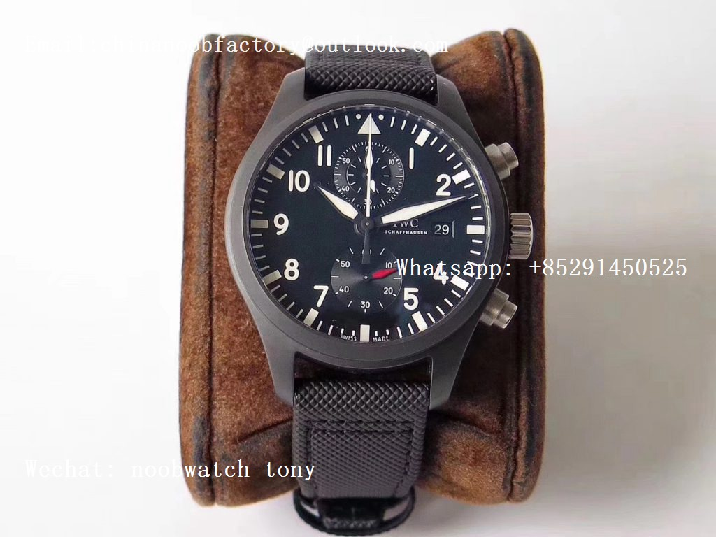 Replica IWC Pilot Chrono Top Gun IW389001 Real Ceramic ZF 1:1 Best Edition Black Dial on Black Calfskin Strap A7750
