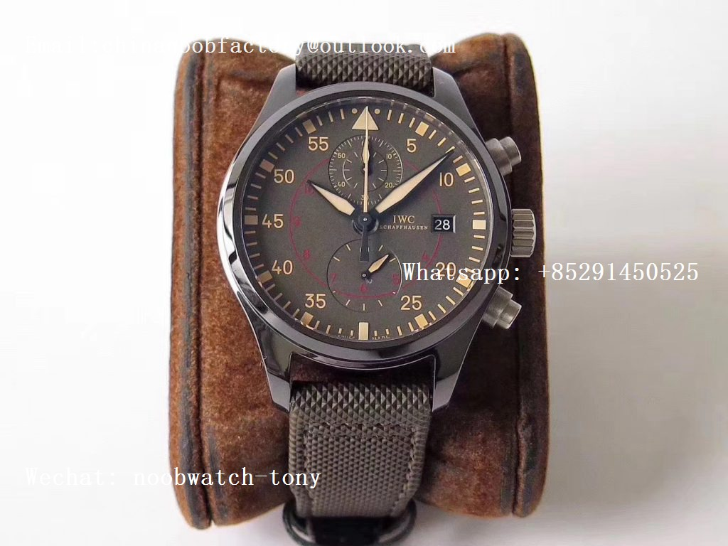 Replica IWC Pilot Chrono Top Gun IW389002 Real Ceramic ZF 1:1 Best Edition Gray Dial on Green Calfskin Strap A7750