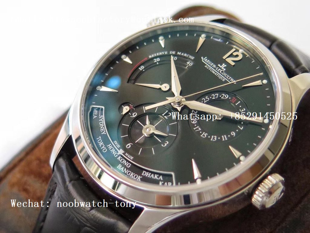 Replica Jaeger Lecoultre JLC Master Geographic Real Power Reserve SS ZF 1:1 Best Edition Black Dial on Black Leather Strap A939