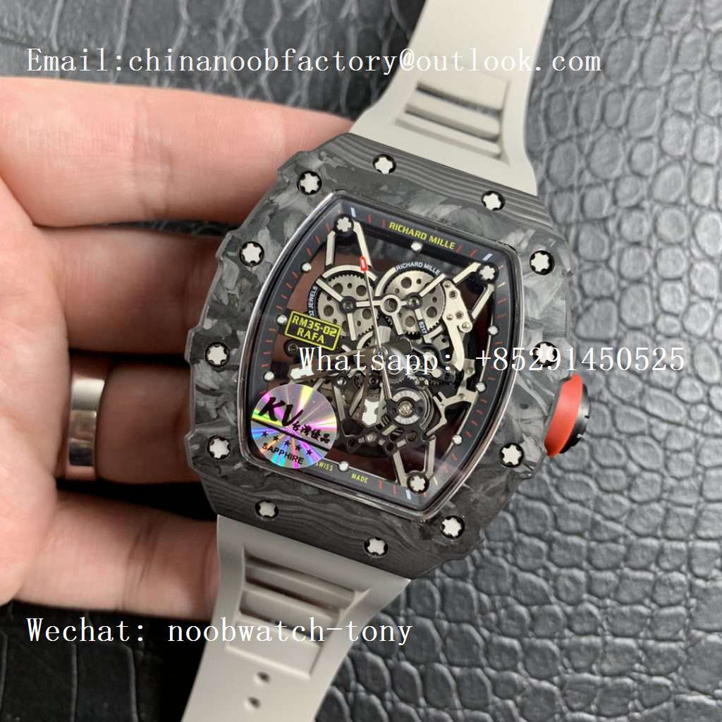 Replica Richard Mille RM035-02 KVF Best Edition Skeleton Dial Red on Gray Rubber Strap MIYOTA8215 V3