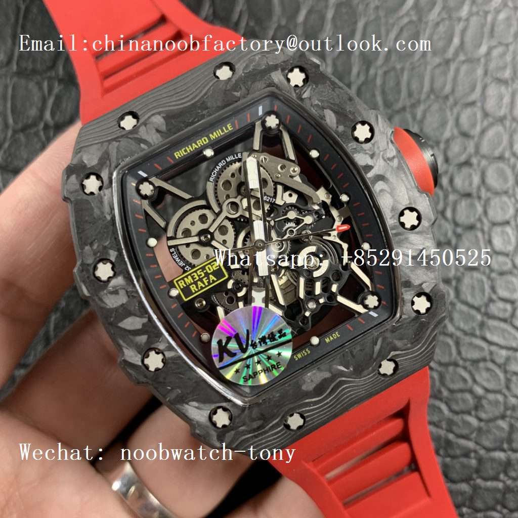 Replica Richard Mille RM035-02 Carbon KVF Best Edition Skeleton Dial Orange on Red Rubber Strap MIYOTA8215 V3