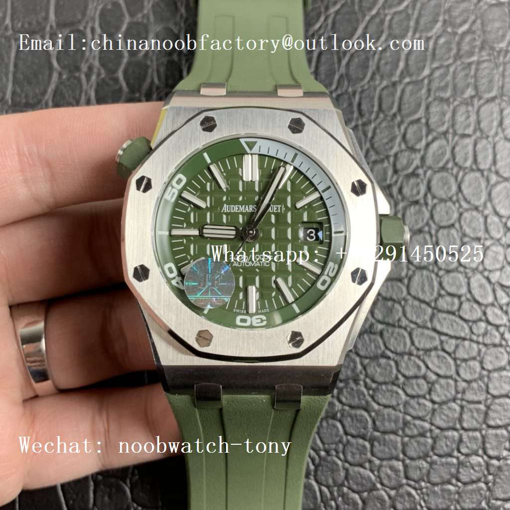 Replica Audemars Piguet AP Royal Oak Offshore Diver Green 15710 JF 1:1 Best Edition on Green Rubber Strap A3120
