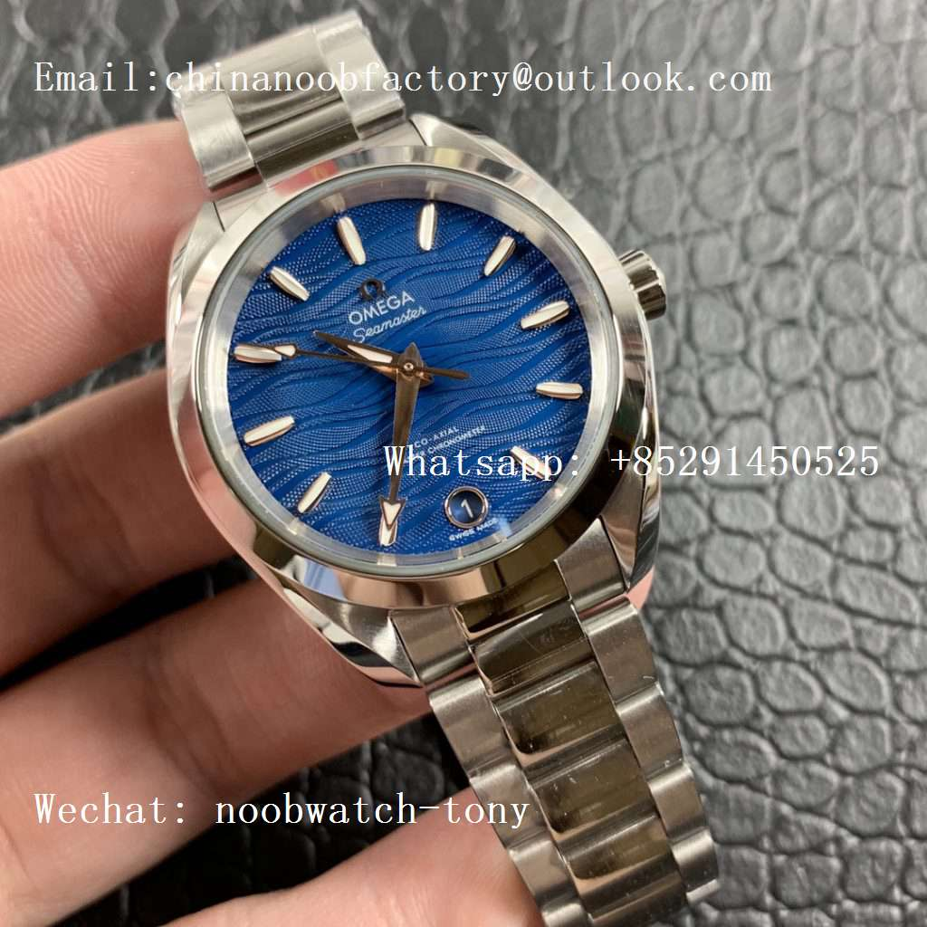 Replica OMEGA Aqua Terra 150M 34mm Ladies SS VSF 1:1 Best Edition Blue Wave Dial on SS Bracelet A8800