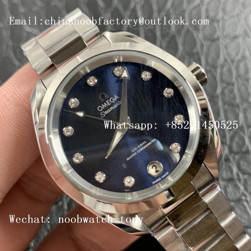 Replica OMEGA Aqua Terra 150M 34mm Ladies SS VSF 1:1 Best Edition Blue Dial Diamonds Markers on SS Bracelet A8800