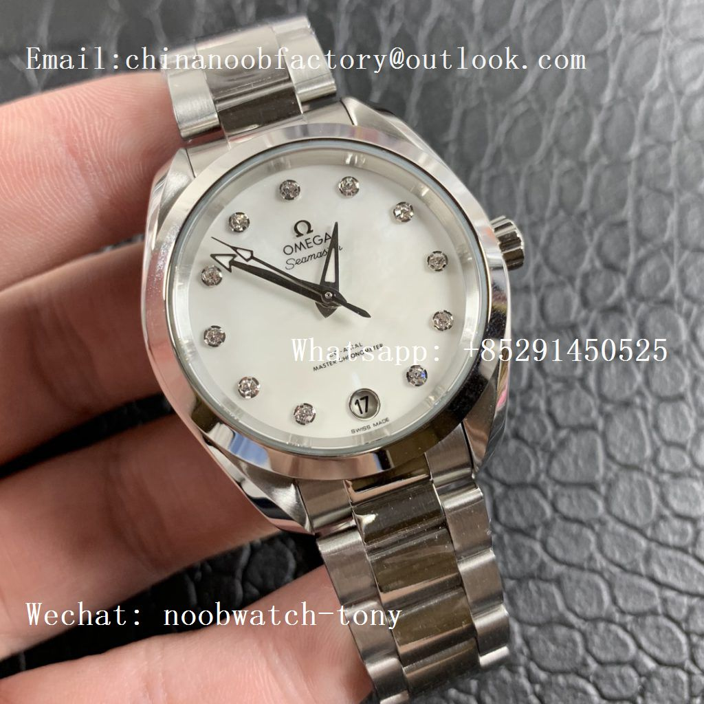 Replica OMEGA Aqua Terra 150M 34mm Ladies SS VSF 1:1 Best Edition White MOP Dial Diamonds Markers on SS Bracelet A8800