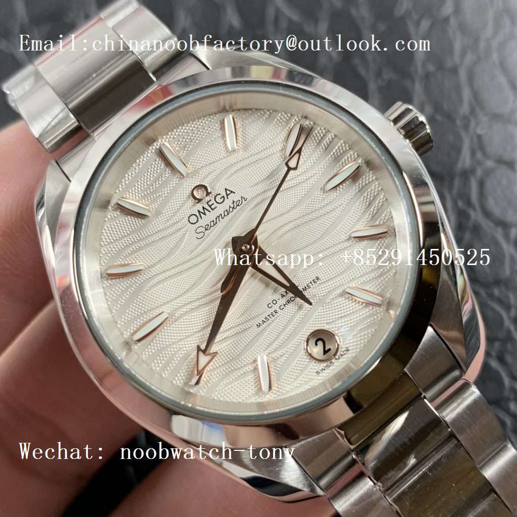 Replica OMEGA Aqua Terra 150M 34mm Ladies SS VSF 1:1 Best Edition White Wave Dial Rose Gold Markers on SS Bracelet A8800
