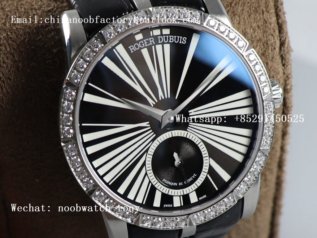 Replica Roger Dubuis Excalibur 36mm SS PF 1:1 Best Edition Black Dial Diamonds Bezel on Black Leather Strap A830