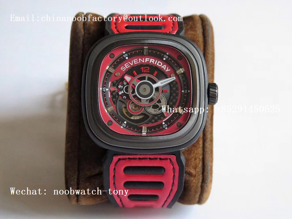 Replica SevenFriday P3B/06 Racing Team Red SVF 1:1 Best Edition on Red Leather Strap Miyota 82S7