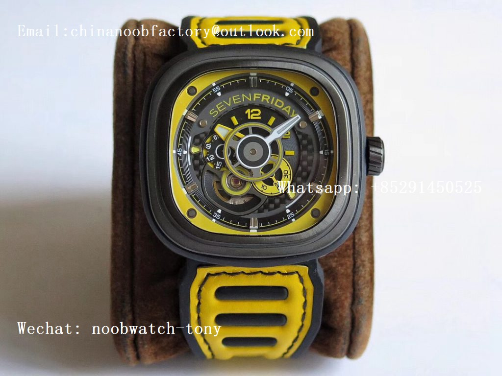 Replica Sevenfriday P3B/06 Racing Team Yellow SVF 1:1 Best Edition on Yellow Leather Strap Miyota 82S7