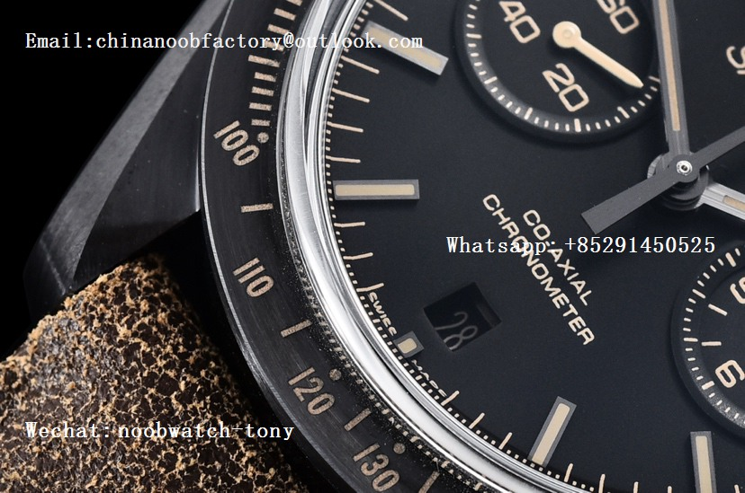 Replica OMEGA Speedmaster Moonwatch Dark Side of The Moon Real Ceramic OMF 1:1 Best Edition Vintage Black on Brown Leather Strap A9300