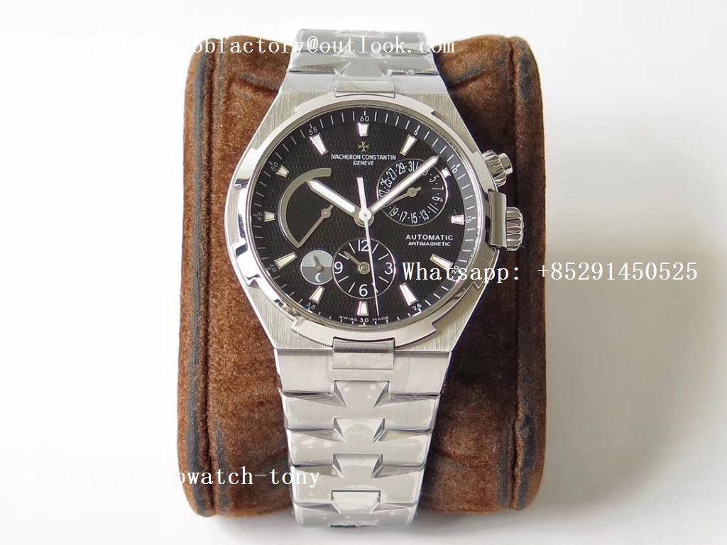Replica Vacheron Constantin VC Overseas Dual Time Power Reserve TWA Best Edition Black Dial on SS Bracelet A1222