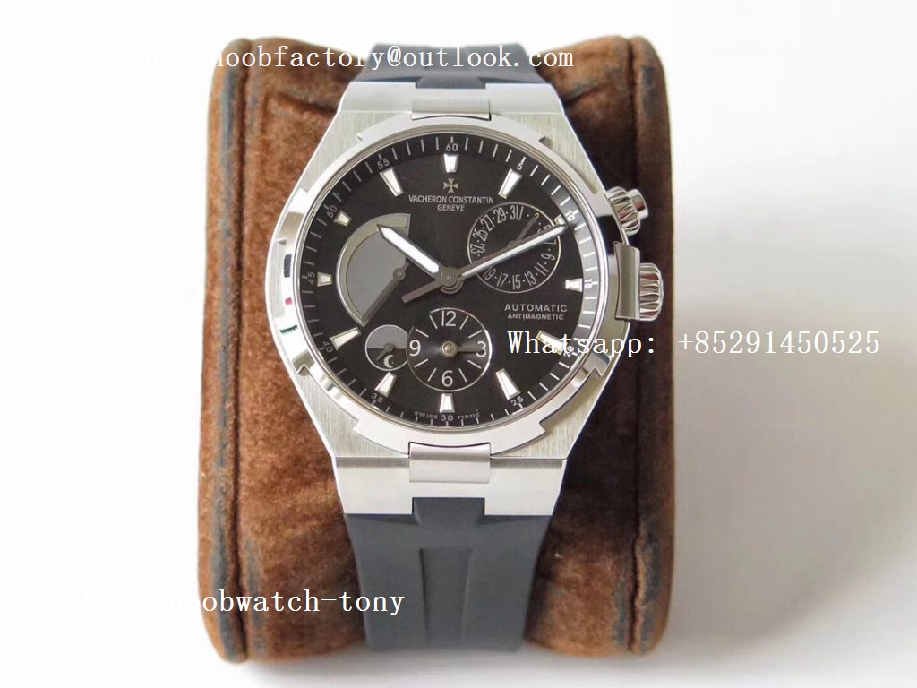 Replica Vacheron Constantin VC Overseas Dual Time Power Reserve TWA Best Edition Black Dial on Black Rubber Strap A1222
