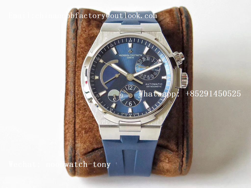 Replica Vacheron Constantin VC Overseas Dual Time Power Reserve TWA Best Edition Blue Dial on Blue Rubber Strap A1222