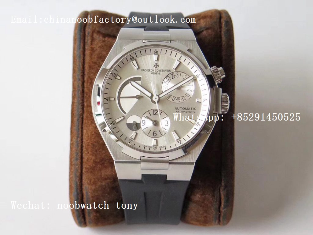 Replica Vacheron Constantin VC Overseas Dual Time Power Reserve TWA Best Edition Silver Dial on Black Rubber Strap A1222