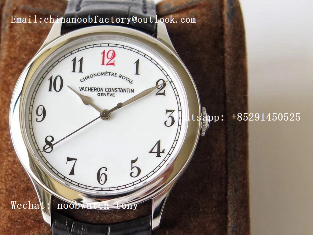 "Replica Vacheron Constantin VC Historiques Chronomètre Royal 1907 SS GSF Best Edition White Dial ""Red 12"" on Black Leather Strap MIYOTA 9015"