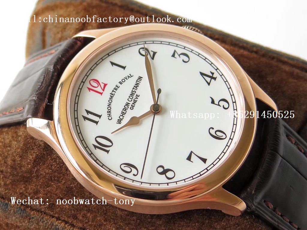 "Replica Vacheron Constantin VC Historiques Chronomètre Royal 1907 Rose Gold GSF Best Edition White Dial ""Red 12"" on Brown Leather Strap MIYOTA 9015"
