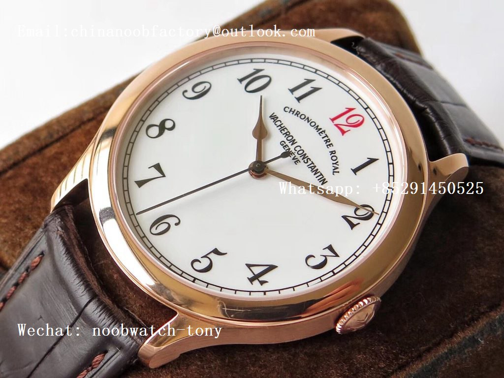 """Replica Vacheron Constantin VC Historiques Chronomètre Royal 1907 Rose Gold GSF Best Edition White Dial """"Red 12"""" on Brown Leather Strap MIYOTA 9015"""