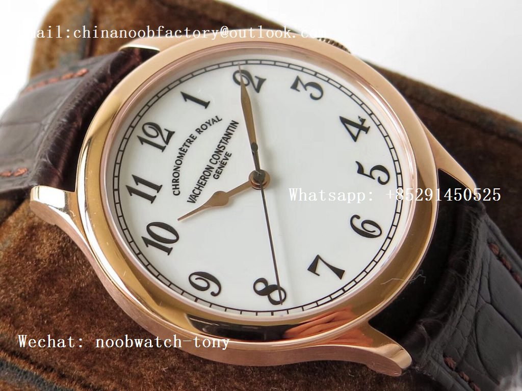Replica Vacheron Constantin VC Historiques Chronomètre Royal 1907 Rose Gold GSF Best Edition White Dial on Brown Leather Strap MIYOTA 9015