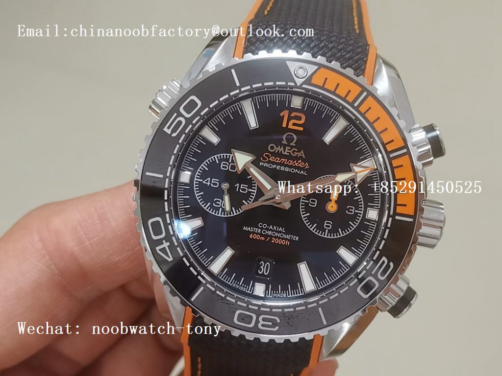 Replica OMEGA Planet Ocean Master Chronometer OMF 1:1 Best SS Black/Orange Polished Bezel Black Dial on Black NYLON Strap A9900 V3