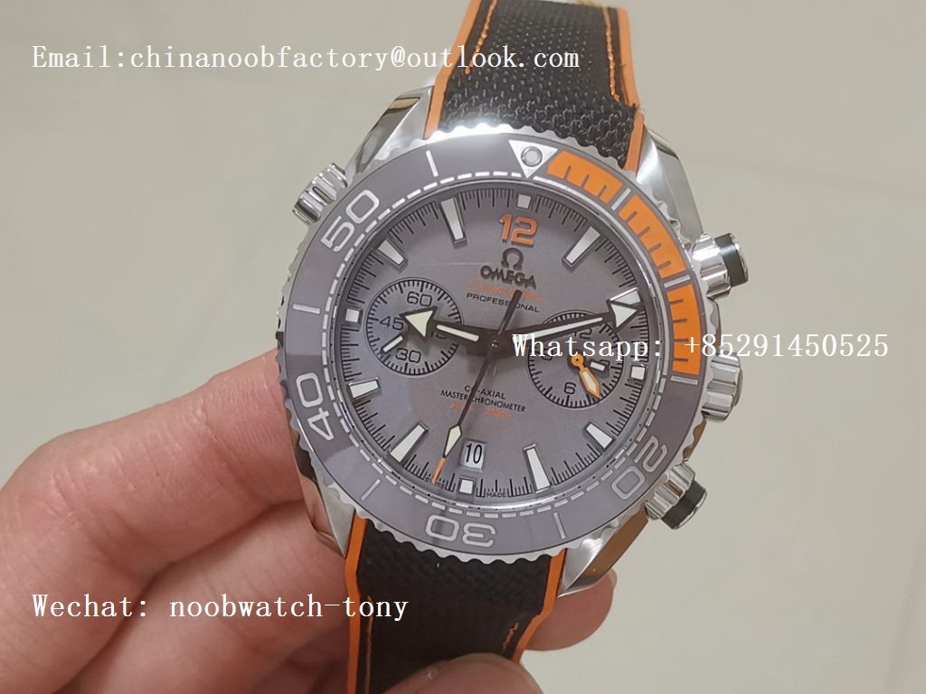 Replica OMEGA Planet Ocean Master Chronometer OMF SS Gray Polished Bezel Gray Dial on Black NYLON Strap A9900 V3