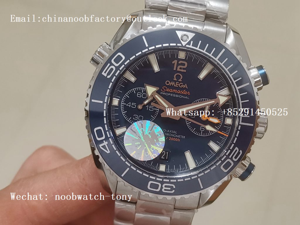 Replica OMEGA Planet Ocean Master Chronometer OMF 1:1 Best SS Blue Polished Bezel Blue Dial on SS Bracelet A9900 V3