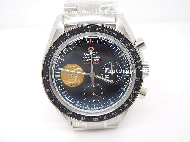 Replica OMEGA Speedmaster Moonwatch Apollo XI 40th Anniversary OMF 1:1 Best Edition Black Dial on SS Bracelet Manual Winding Chrono Movement