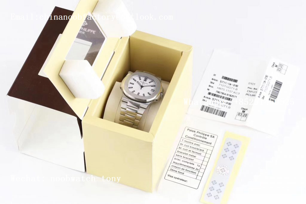 Replica Patek Philippe Nautilus 5711/1A PPF 1:1 Best Edition White Textured Dial on SS Bracelet 324CS (Free box) V3