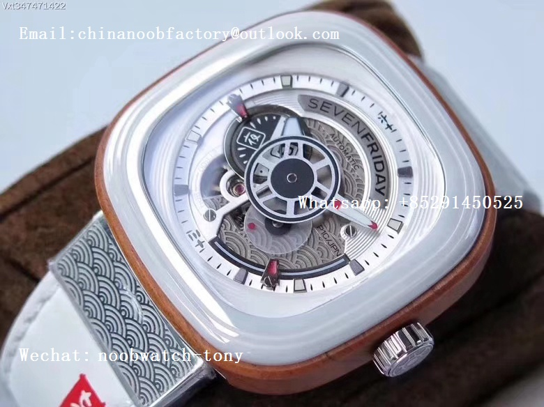 Replica Sevenfriday Seven Friday P1B/03 Japan Limited Edition SVF 1:1 Best Edition on White Leather Strap Miyota 82S7