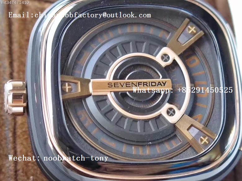 Replica Sevenfriday Seven Friday M2/02 SVF 1:1 Best Edition Black Dial on Brown Leather Strap Miyota 8215