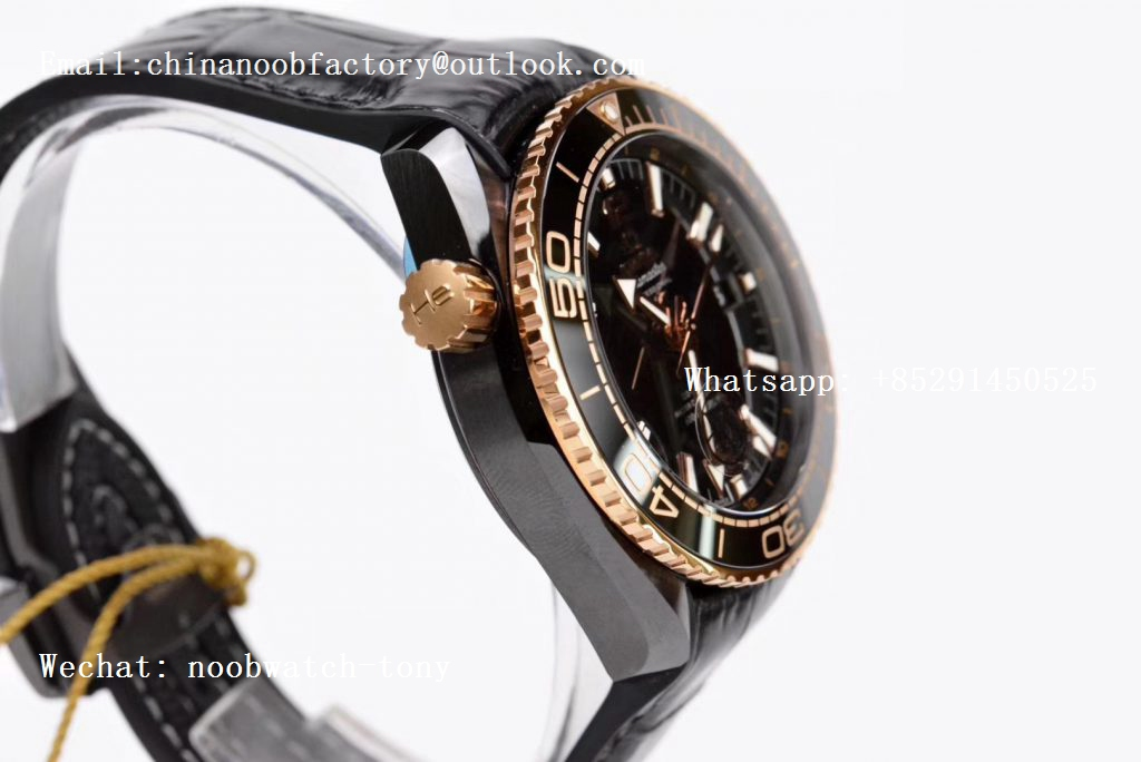 Replica OMEGA Planet Ocean 45.5mm Deep Rose Gold Black Real Ceramic VSF 1:1 Best Edition on Black Leather Strap A8906 Super Clone