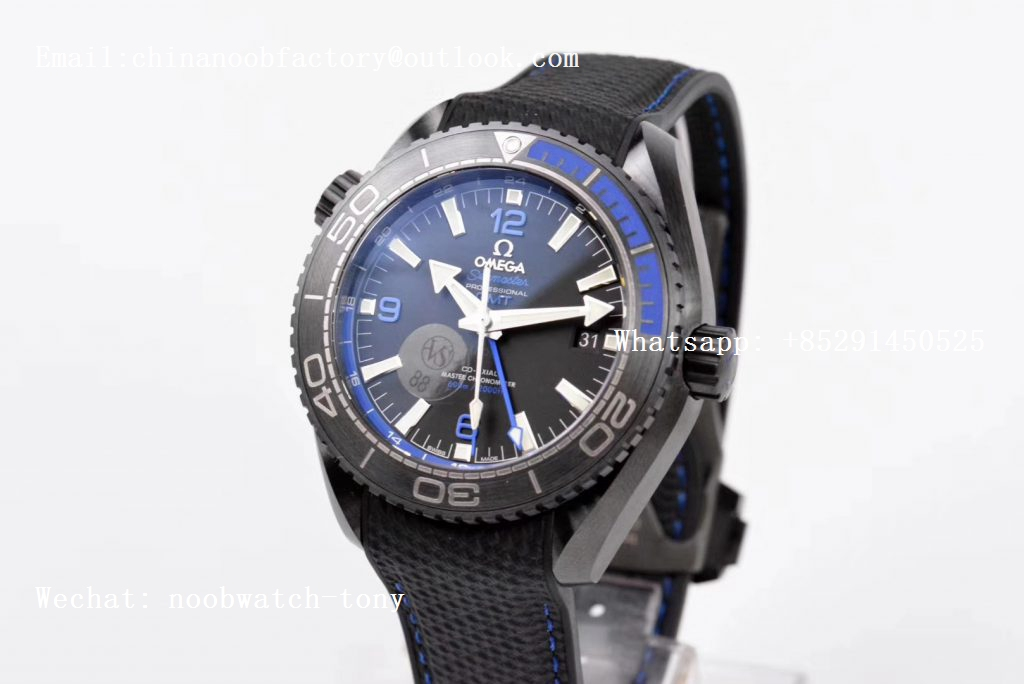 Replica OMEGA Planet Ocean 45.5mm Deep Black blue Real Ceramic VSF 1:1 Best Edition on Black Nylon Strap A8906 Super Clone