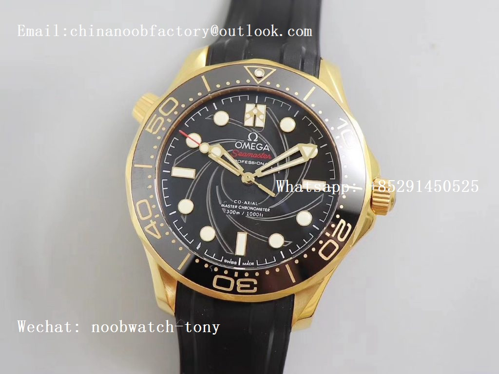Replica OMEGA Seamaster Diver 300M Yellow Gold 007 James Bond VSF 1:1 Best Edition on Black Rubber Strap A8807