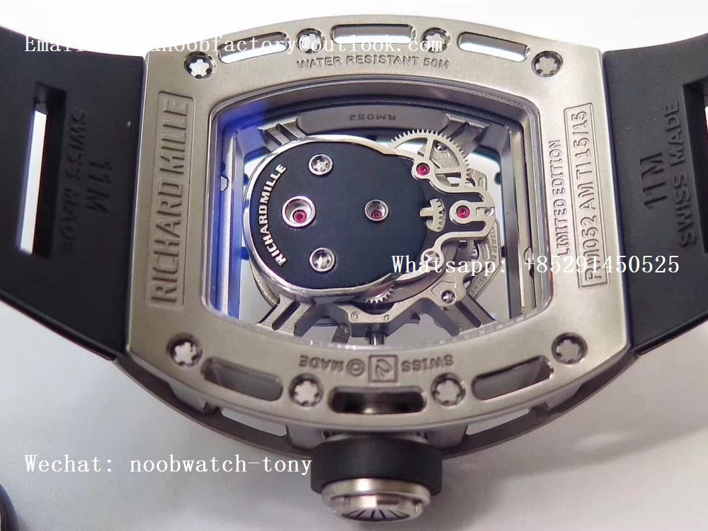 Replica Richard Mille RM052 Skull Titanium ZF 1:1 Best Edition Skeleton Dial on Black Rubber Strap NH05A