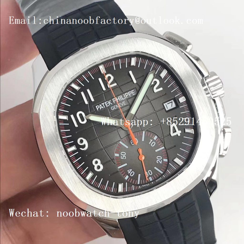 Replica Patek Philippe Aquanaut Chronograph 5968A YLF Best Edition Brown Dial on Black Rubber Strap A7750
