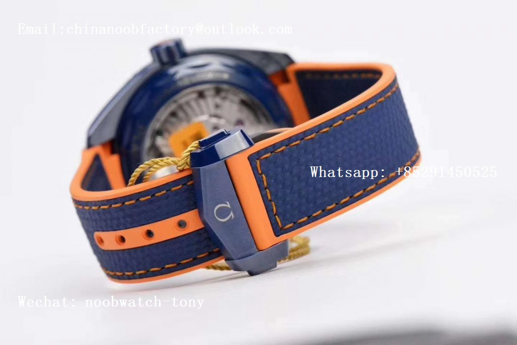 Replica OMEGA Planet Ocean 45.5mm Big Blue Real Ceramic VSF 1:1 Best Edition on Blue Rubber Strap A8906 Super Clone