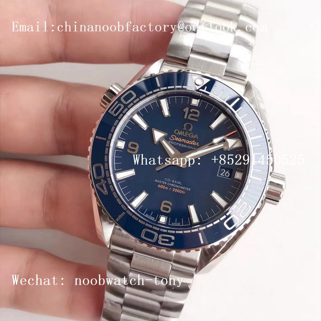 Replica OMEGA Planet Ocean 43.5mm SS VSF 1:1 Best Edition Blue Ceramic Bezel and Dial on SS Bracelet A8900 Super Clone